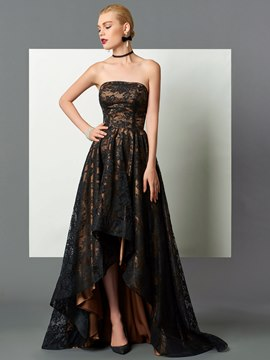 Ericdress High Low Strapless Lace A-Line Asymmetry Evening Dress