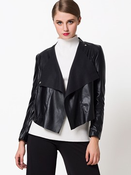 Ericdress Loose Turn-Down PU Jacket