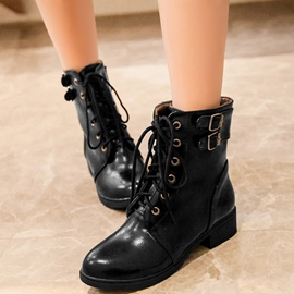 Ericdress Cool Buckles Lace up Ankle Boots