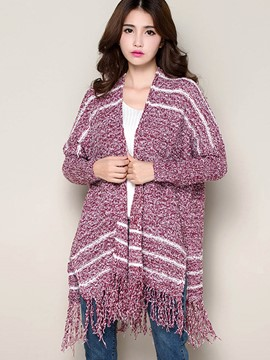 Ericdress Loose Stripped Tassel Cape