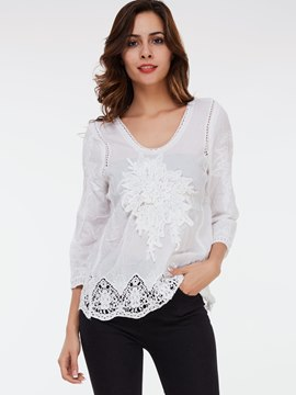 Ericdress Slim Round Neck Lace Patchwork Blouse