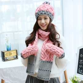 Ericdress Color Block Woolen Yarn Knitted Hat & Scarf & Gloves