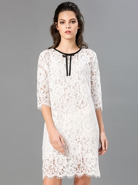 Ericdress Back Button Belt-Tied See-Through Half Sleeve Lace Dress
