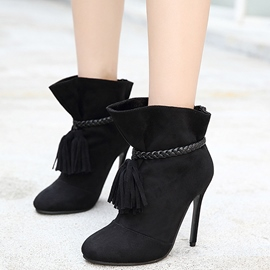 Ericdress Elegant Suede Tassels Point Toe High Heel Boots