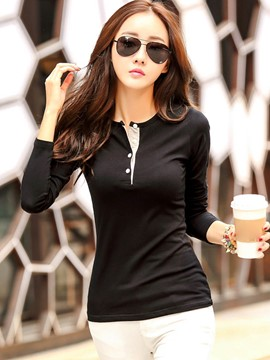 Ericdress Button Detail Slim Causual T-Shirt