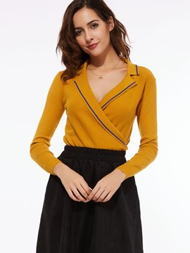 Ericdress V-Neck Lapel Knitwear
