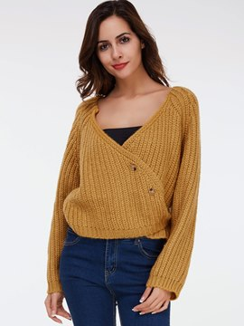 Ericdress Oblique Trim Plain Knitwear
