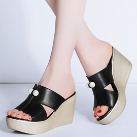 Ericdress Pearl Peep Toe Platform Mules Shoes