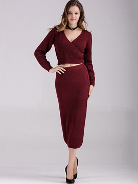 Ericdress Plain Color V-Neck Sweater Bodycon Suit