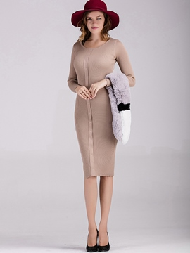 Ericdress Button Patchwork Round Collar Slim Sweater Dress
