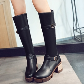 Ericdress PU Block Heel Thigh High Boots