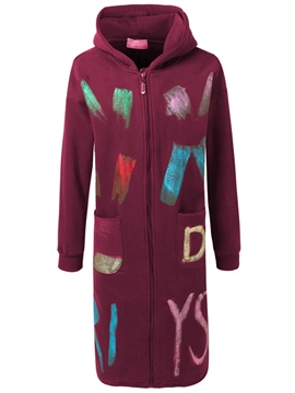 Ericdress Straight Letters Painted Hoodie
