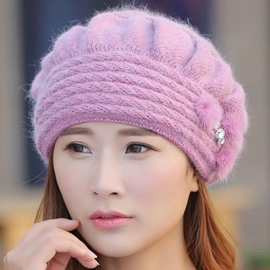 Ericdress Splendid Furry Rabbit Hair Knitted Hat
