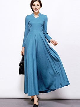 Ericdress Stand Collar Stylelines Patchwork Maxi Dress