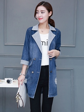 Ericdress Straight Ripped Color Block Denim Outerwear