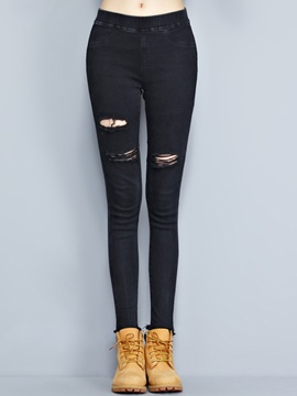 Ericdress Solid Color Holes Skinny Jeans