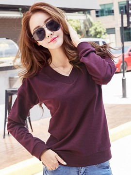 Ericdress Loose Long-Sleeve V-Neck T-Shirt