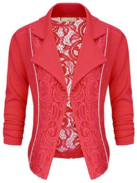 Ericdress Solid Color Slim Lace Jacket