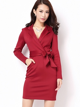Ericdress Notched Lapel Lace-Up Pocket Bodycon Dress
