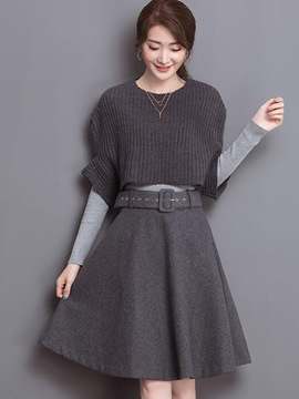 Ericdress Solid Color Pleated Sweater Expansion Skirt Suit