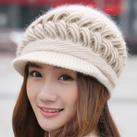 Ericdress Twist Knitting Warm Short Brim Women's Hat