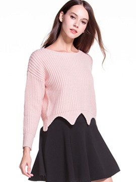Ericdress Solid Color Wave Cut Pattern Knitwear