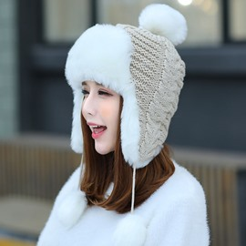 Ericdress Imitation Fur Brim Design Bomber Hat