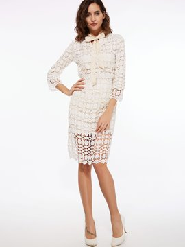 Ericdress Solid Color Hollow Lace-Up Leisure Suit