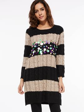 Ericdress Sequins Stripe Knitwear