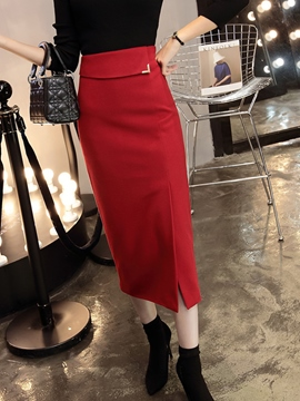 Ericdress Solid Color High-Waist Bodycon Skirt