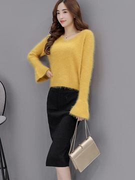 Ericdress Long Sleeve Sweater Skirt Leisure Suit