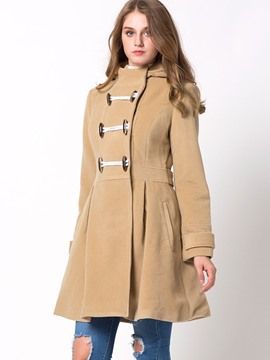 Ericdress Solid Color Horn-Button Slim Wave Cut Coat