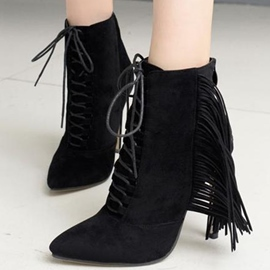 Ericdress Eurameric Point Toe Tassels High Heel Boots