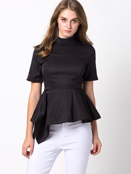 Ericdress Black Pelplum Iregular Blouse