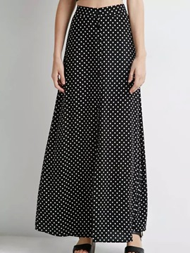 Ericdress Polka Dots High-Waist Pleated Maxi Skirt