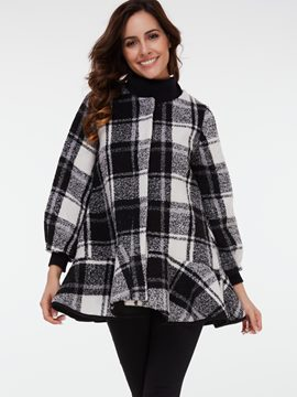 Ericdress Color Block Round Neck Plaid Coat