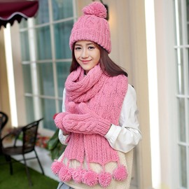 Ericdress Pure Color Pom-Pom Design Hat & Scarf & Gloves