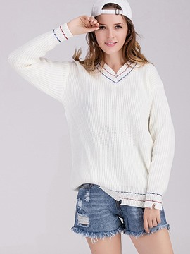 Ericdress V-Neck Simple Knitwear