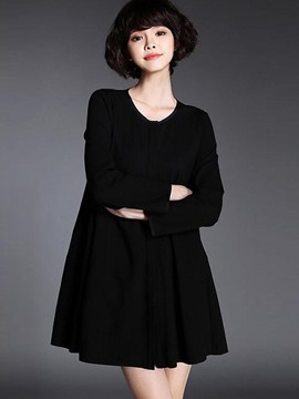 Ericdress Round Collar Solid Color Pleated A-Line Casual Dress