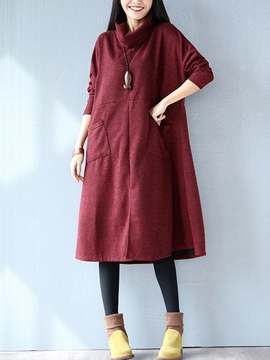 Ericdress Simple Pocket Patchwork Turtleneck Casual Dress