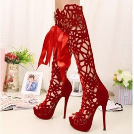 Ericdress Red Cut Out Caged Ribbon Thigh High Boots