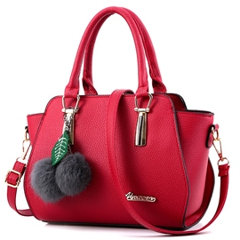 Ladylike Fuzzy Ball Embossed Handbag
