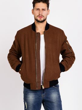 Ericdress Patchwork Zip Pocket Wool Mix Vogue Men's Jacket