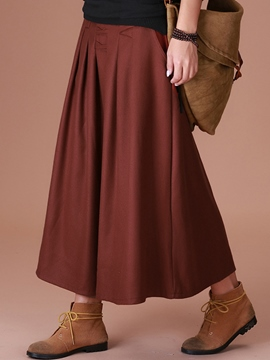 Ericdress Plain Color High-Waist Pleated Maxi Skirt