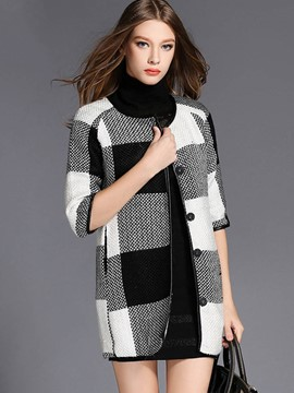 Ericdress Color Block Plaid Round Neck Coat
