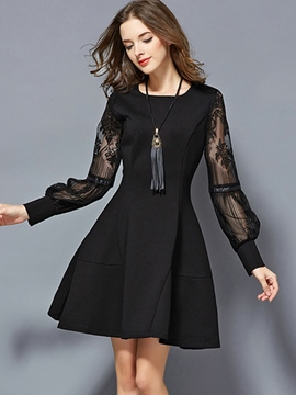Ericdress See-Through Lantern Sleeve A-Line Casual Dress