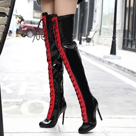 Ericdress Sexy Contrast Color Point Toe Thigh Heel Boots