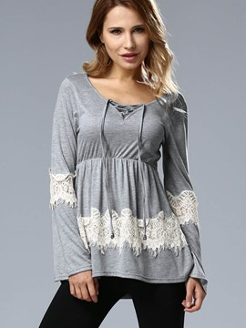 Ericdress Pelplum Lace Patchwork T-Shirt