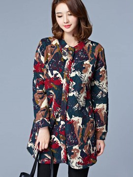 Ericdress Floral Printed Plus Size Coat