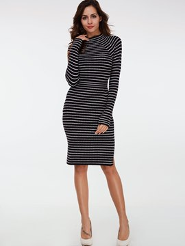 Ericdress Stripe Long Sleeve Sweater Skirt Suit